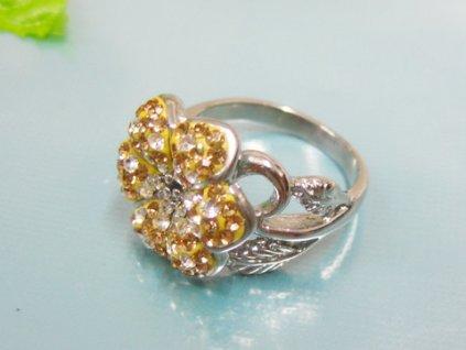 PR6081ZOC Kvietok - Oceľový prsteň so zirkónmi