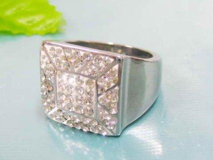 PR6082ZOC Oceľový prsteň so zirkónmi