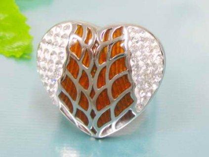 PR6083ZOC Srdce - oceľový prsteň so zirkónmi