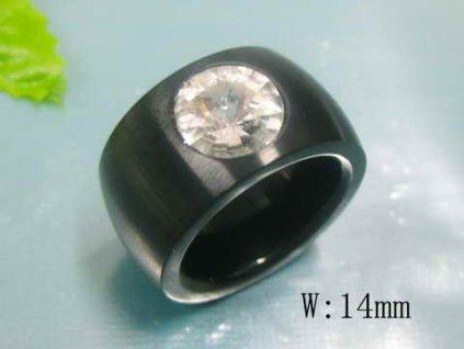 PR6085ZOC čierny prsteň so zirkónom