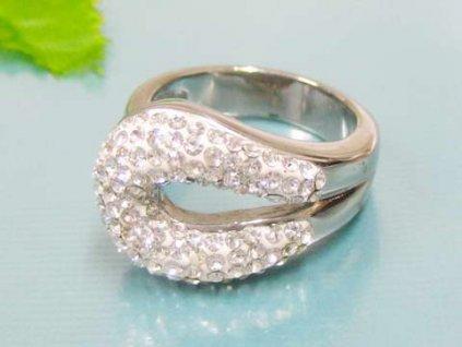 PR6086ZOC Oceľový prsteň so zirkónmi