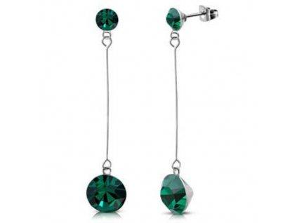 NA3442ZOC ocelove nausnice so zirkonmi zelene