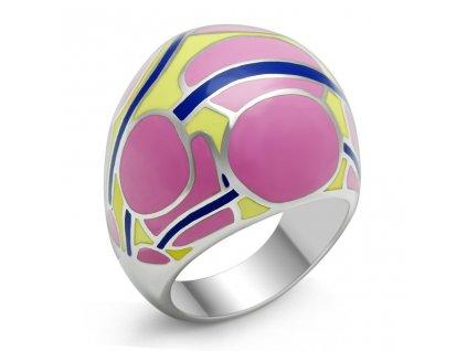 PR6089OC Farebný oceľový prsteň