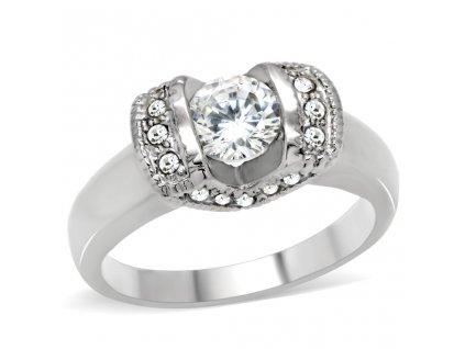 PR6093ZOC Oceľový prsteň so zirkónmi