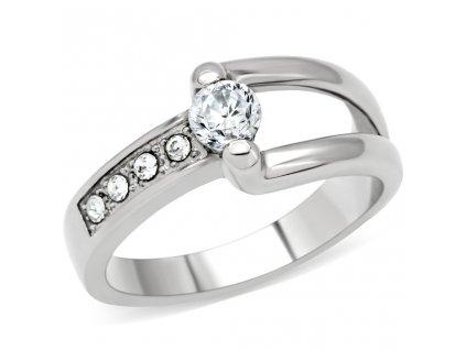 PR6094ZOC Oceľový prsteň so zirkónmi