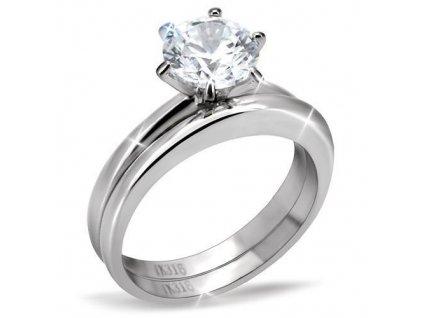 PR6095ZOC dvojity prsten z chirurgickej ocele so zirkonmi
