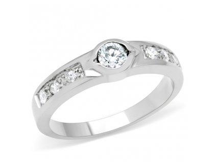 PR6098ZOC Oceľový prsteň so zirkónom