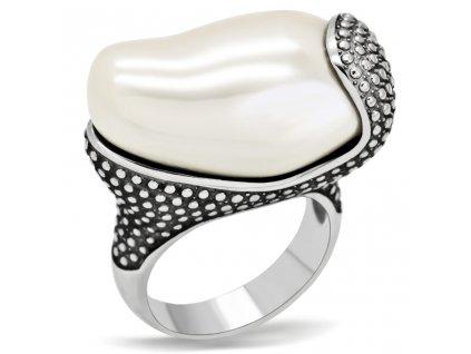 PR6117OC - Oceľový prsteň so syntetickým kameňom