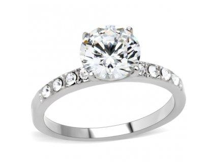 PR6118ZOC - Oceľový prsteň so zirkónmi
