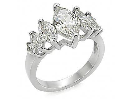 PR6119ZOC - Oceľový prsteň so zirkónmi