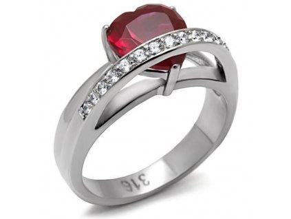 PR6120ZOC ocelovy prsten so zirkonmi srdiecko