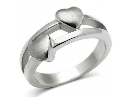 PR6133OC - Dve srdiečka - oceľový prsteň