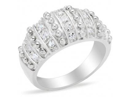 PR4576ZSS - Strieborný prsteň so zirkónmi