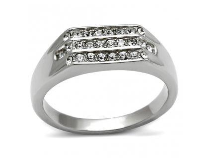 PR6135SWOC - Pánsky oceľový prsteň so Swarovski krištálmi