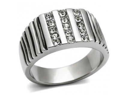 PR6136SWOC - Pánsky oceľový prsteň so Swarovski krištálmi