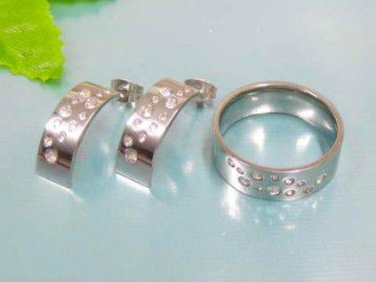 SE3153ZOC ocelovy set prsten nausnice so zirkonmi