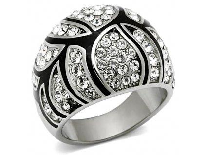 PR6143SWOC - Exkluzívny oceľový prsteň so Swarovski krištálmi