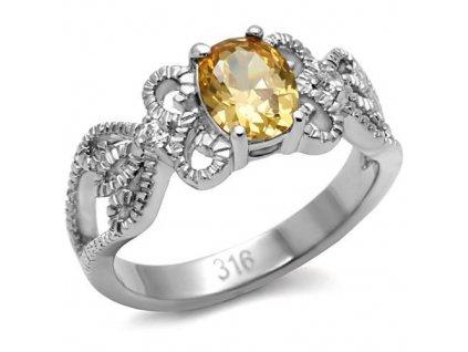PR6144ZOC - Oceľový prsteň so zirkónom