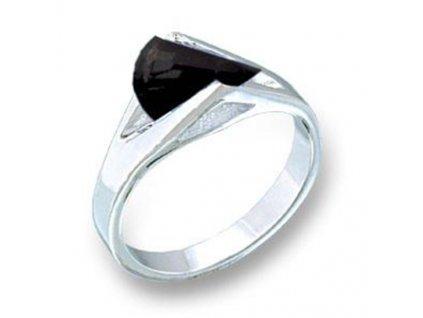 prsten rhodiovany cierny zirkon