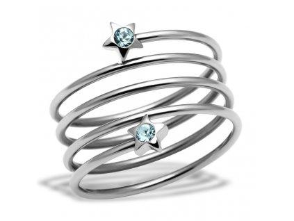 PR6152SWOC - Hviezdičky - oceľový prsteň so Swarovski krištálmi