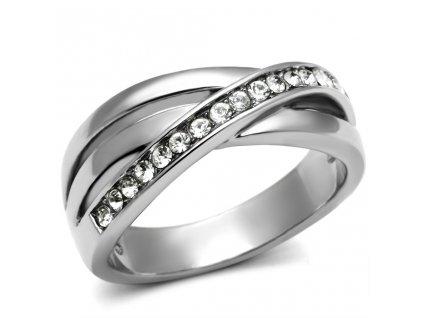 PR6153SWOC - Oceľový prsteň so Swarovski krištálmi