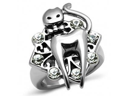 PR6168SWOC - Mačička - prsteň so Swarovski krištálmi