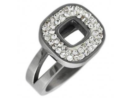 PR6176ZOC - Oceľový prsteň so zirkónmi