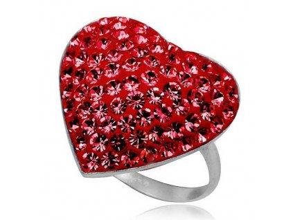 PR4624SWSS - červené srdiečko - strieborný prsteň so Swarovski krištálmi