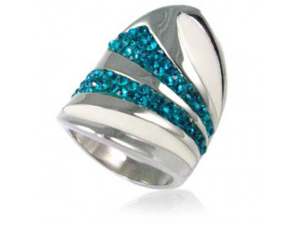 PR6195ZOC ocelovy prsten so zirkonmi