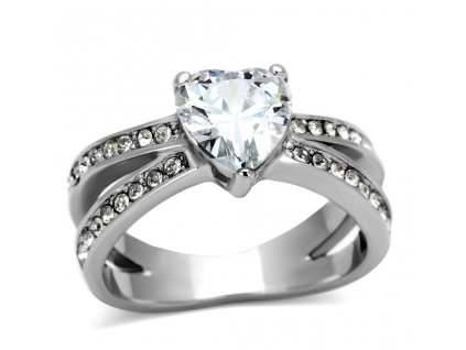 PR6201ZOC srdiecko ocelovy prsten so zirkonmi