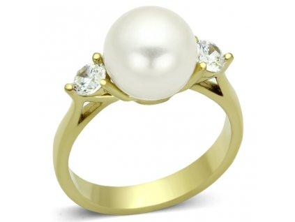 PR6202ZPOC Prsteň z chirurgickej ocele so syntetickou perlou a zirkónmi