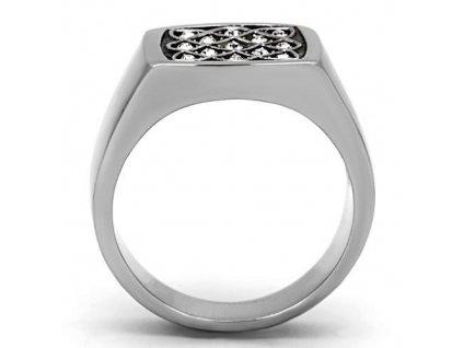 PR6217SWOC Pánsky prsteň z chirurgickej ocele so Swarovski krištáľmi