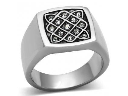 PR6191SWOC pansky ocelovy prsten so swarovski kristalmi