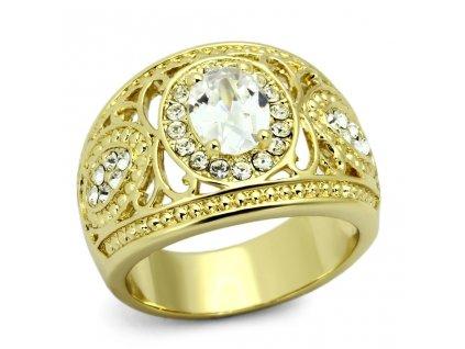 PR6216ZGOC prsten ocelovy pozlateny zirkony