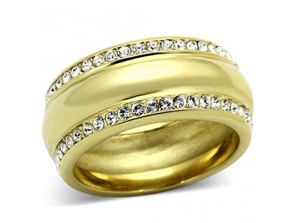 PR6233ZGOC pozlateny prsten ocelovy swarovski
