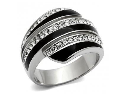 PR6237SWOC ocelovy prsten so swarovski kristalmi