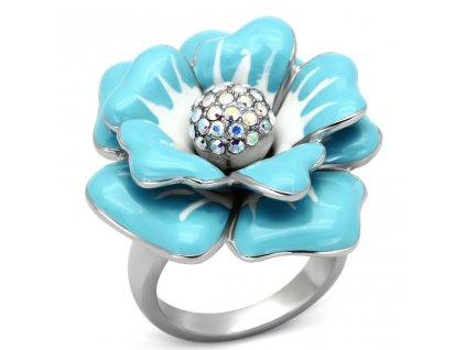 PR6243SWOC tyrkysovy kvet prsten z ocele swarovski