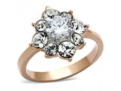 PR6249ZGOC prsten ocelovy so zirkonmi ruzove zlato