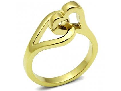 PR6254GOC - Dve srdiečka - prsteň z chirurgickej ocele