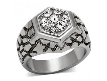 PR6297SWOC - Pánsky prsteň z chirurgickej ocele so Swarovski krištálmi