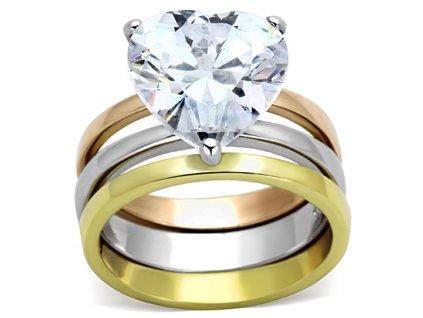 PR6313ZGOC prsten z chirurgickej ocele so zirkonmi