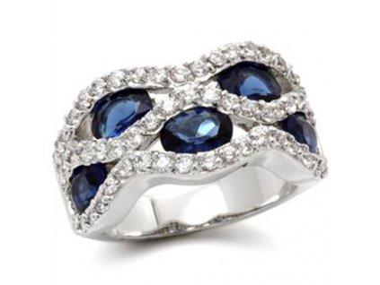 Prsten so zirkonmi modry