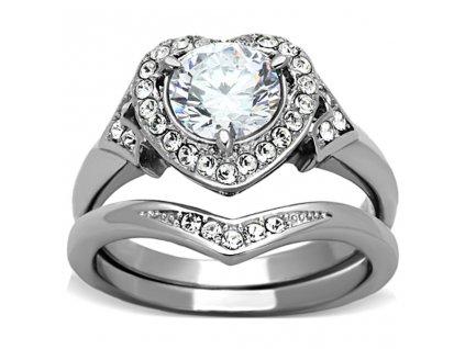 PR6322ZOC ocelovy prsten so zirkonom