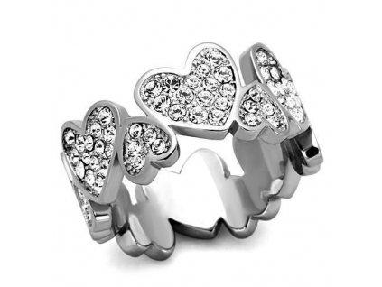 PR6327ZOC srdiecka ocelovy prsten zirkony