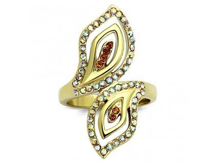 PR6334ZGOC pozlateny ocelovy prsten so zirkonmi