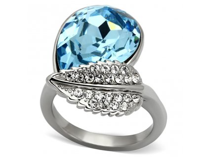 PR6338ZOC ocelovy prsten modry so zirkonmi