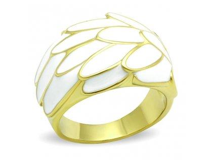 PR6345GOC ocelovy pozlateny prsten biely