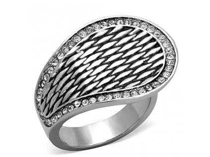 PR6347ZOC ocelovy prsten so zirkonmi