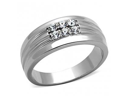 PR6350ZOC ocelovy prsten so zirkonmi