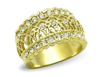 PR6353ZGOC prsten ocelovy zirkony zlato